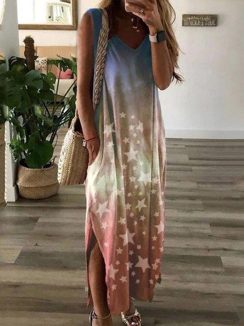 Multicolor Casual Cotton-Blend Short Sleeve Crew Neck  Star Dresses