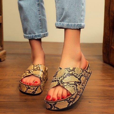 Platform Animal Print Pu Open Toe Slide Sandals