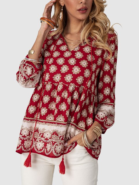 Red V Neck Casual Floral Gathered Fringed Shirts & Tops