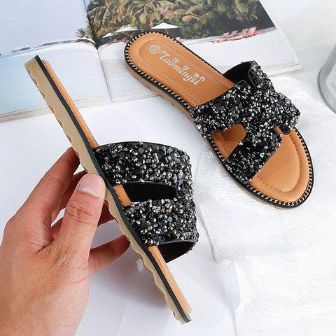 Women Slide PU Rhinestone Holiday Flat Heel Summer Slippers