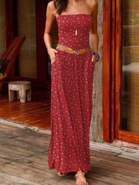 Printed Floral Sleeveless Boho Dresses