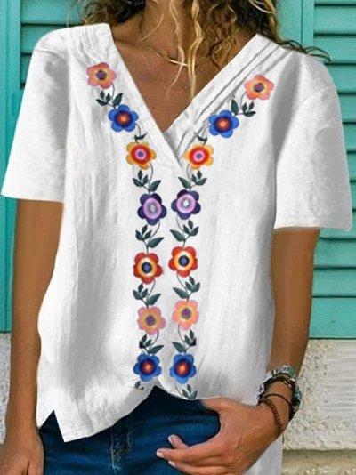 Cotton-Blend Floral V Neck Short Sleeve Shirts & Tops