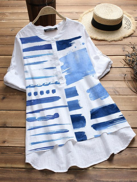 White Short Sleeve Geometric Cotton-Blend Shirts & Tops