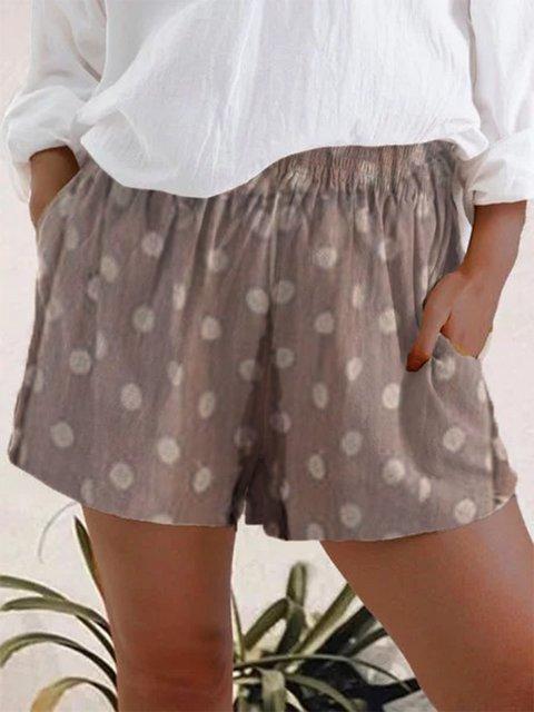 Light Brown Polka Dots Casual Linen Shorts