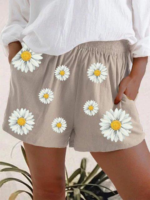 Light Brown Linen Casual Floral Pants