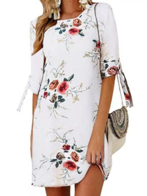 White Half Sleeve Crew Neck Casual Floral Dresses