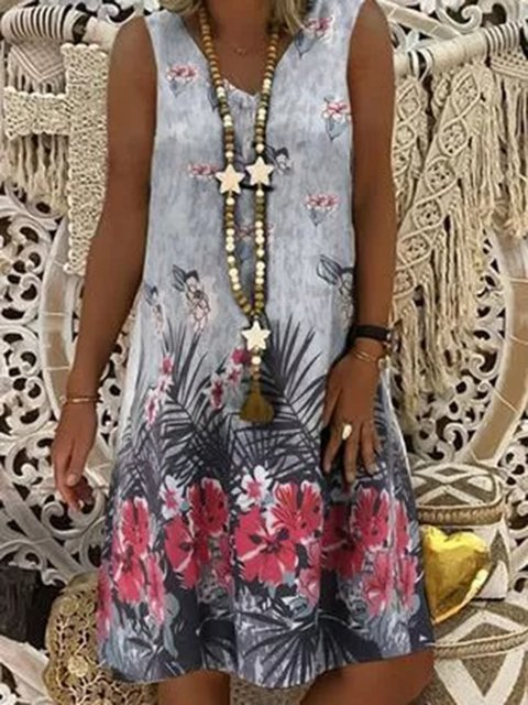 Gray Sleeveless Casual Floral-Print Dresses