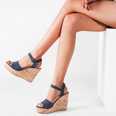 Women PU Peep Toe Buckle Spring Wedge Heel Sandals