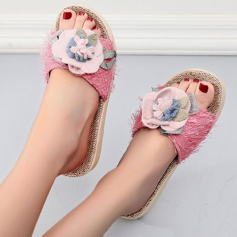 Flower Wedge Heel Easpadrille Cloth Slippers
