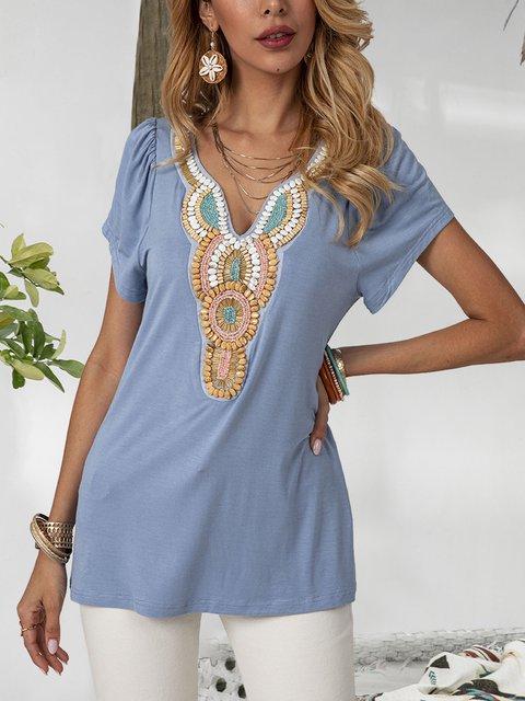 Blue Boho Cotton Printed V Neck Shirts & Tops