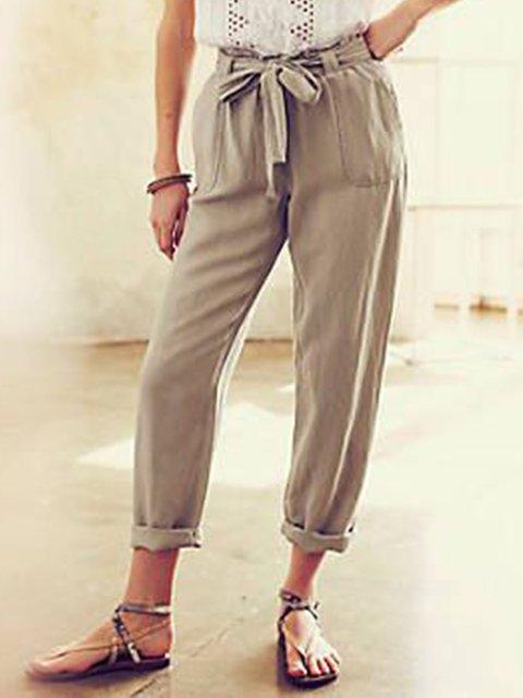 Light Brown Casual Plain Linen Pants