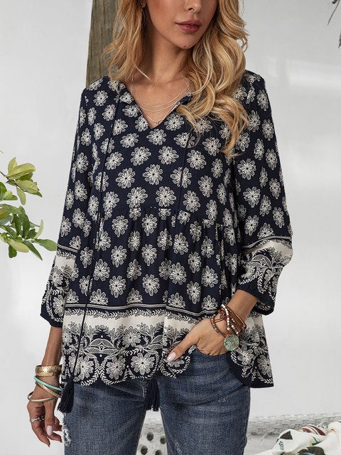 Blue V Neck Casual Floral Gathered Fringed Shirts & Tops