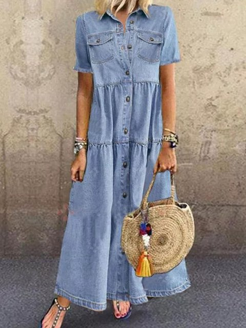 Women Plain Denim Short Sleeve Shirt Collar Maxi Summer Dresses