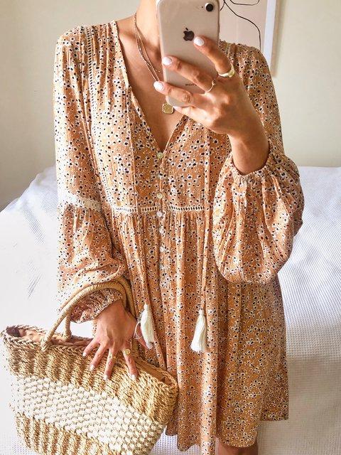 Floral Mini Dress Women Plus Size Long Sleeve Dresses