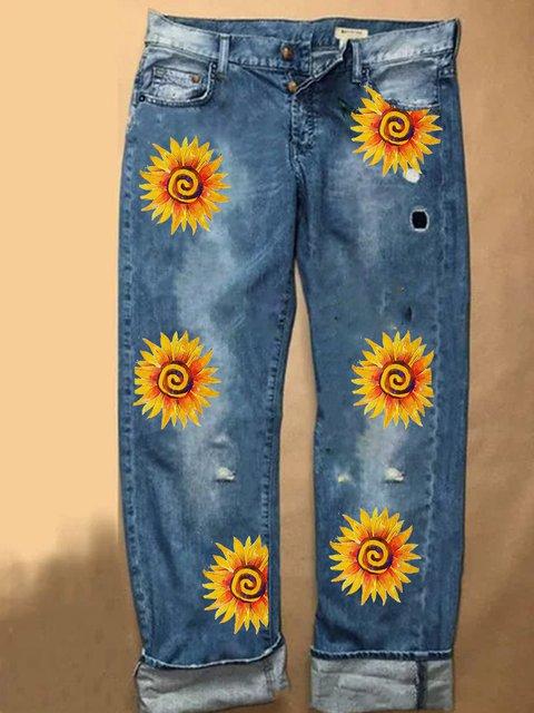 Vintage Casual Plus Size Floral Printed Jeans Pants