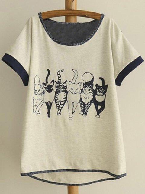 Paneled Short Sleeve Cotton Animal Tops