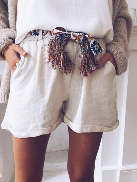 Linen Tribal Casual Fringed Belt Shorts