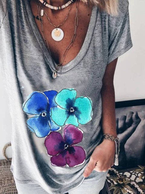 Casual Floral Short Sleeve Shirts & Tops
