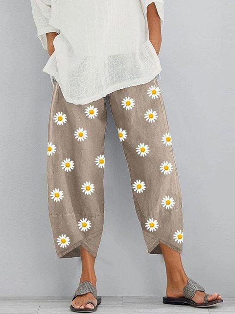 Floral-print Casual Pants