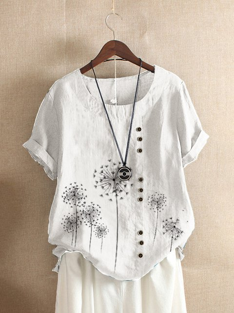 Dandelion Print  Short Sleeve Floral Casual Shirts & Tops