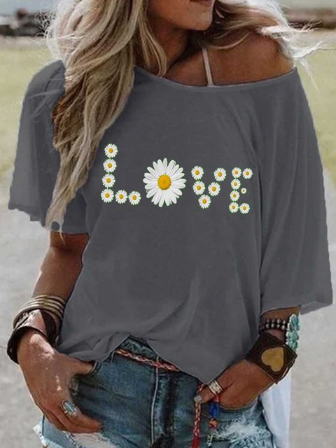 Gray Off Shoulder Short Sleeve Cotton Patchwork Shirts & Tops