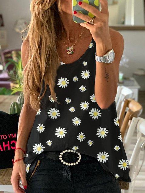 Floral-print Crew Neck Sleeveless Tops