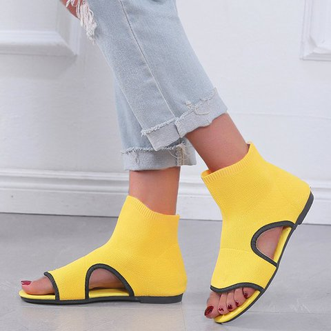 Fly-Woven Fabric Booties Slip-On Cut Out Flat Heel Sandals