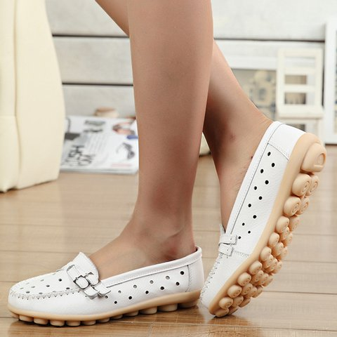 Buckle Slip-On Artificial Leather Hollow Out Comfy Non-Slip Flats
