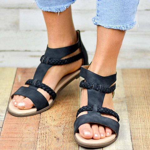 Adjustable Buckle Low Heel Braided Strap Daily Gladiator Sandals