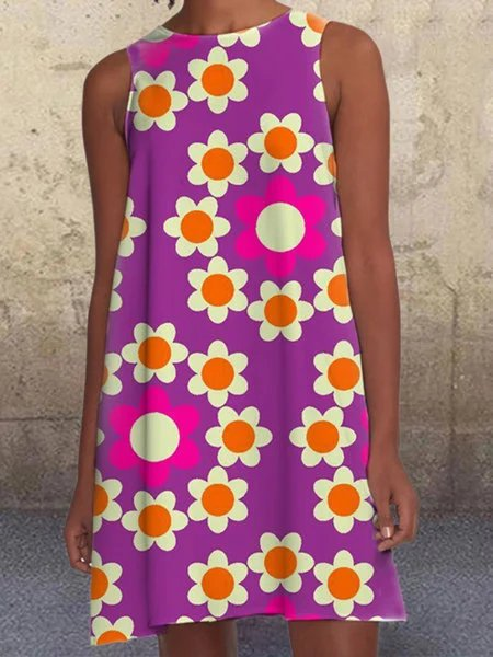 Purple A-Line Sleeveless Dresses