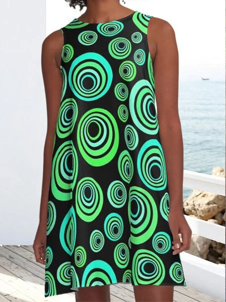 Green Crew Neck Holiday Dresses