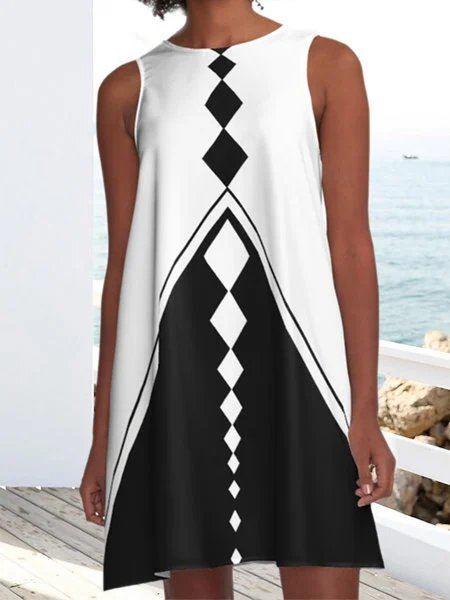 White-Black A-Line Cotton-Blend Crew Neck Holiday Dresses
