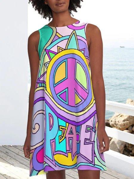Purple Holiday A-Line Cotton-Blend Sleeveless Dresses