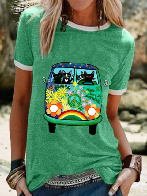 Green Casual Graphic Shirts & Tops