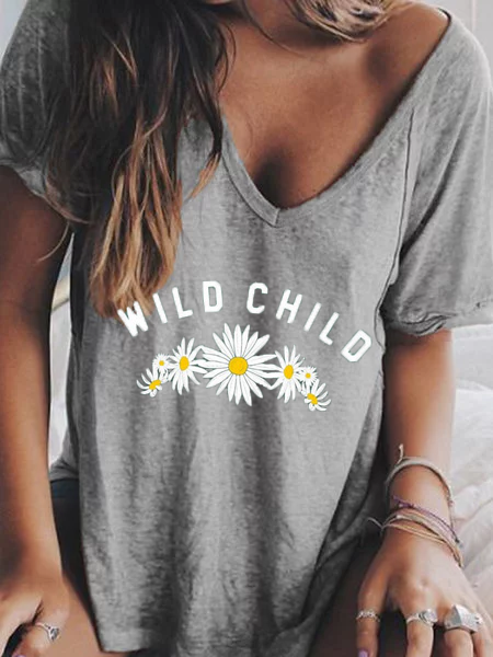 Floral-Print Crew Neck Casual Shirts & Tops