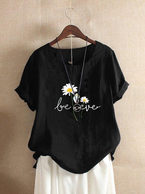 Casual Short Sleeve Floral-Print Shirts & Tops