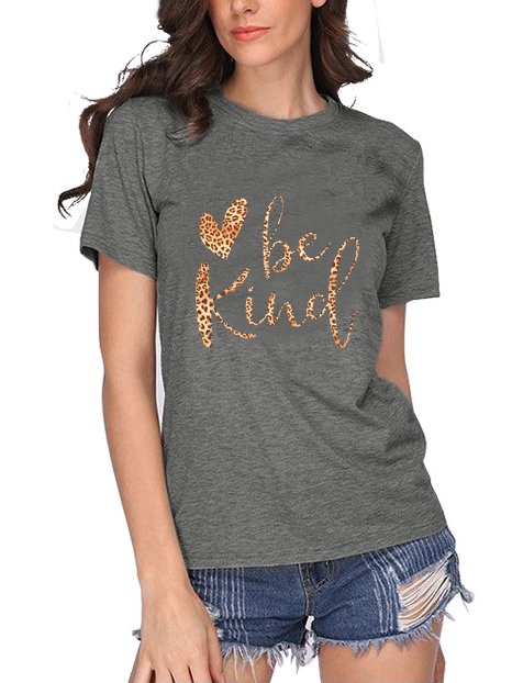 Short Sleeve Casual Leopard Shirts & Tops