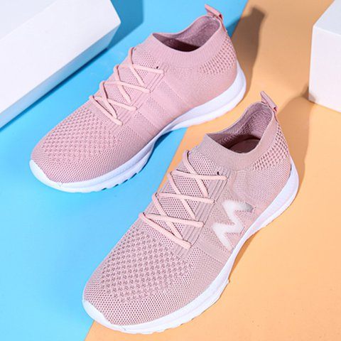 Mesh Lace-Up Plus Size Sports Sneakers