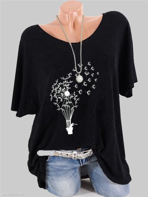 Black Floral-Print Round Neck Short Sleeve Casual Shirts & Tops