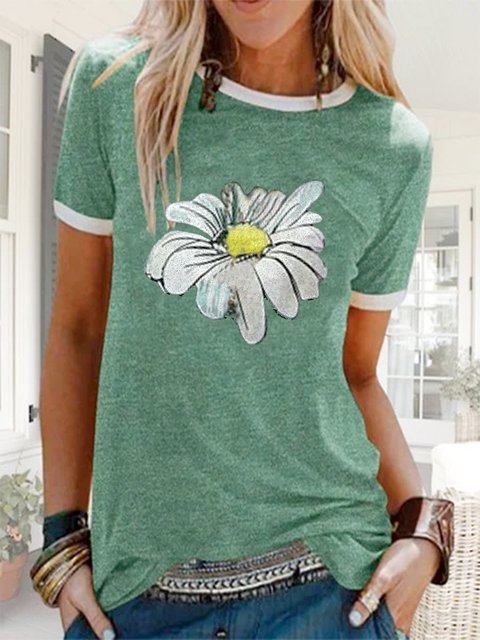 Casual short sleeve round neck chrysanthemum top