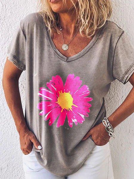 Floral-Print Cotton-Blend Short Sleeve  Tops
