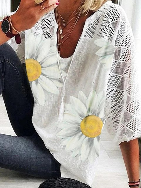 White Holiday Daily Casual Floral Printed U-Neck 3/4 Sleeve Shirts & Tops