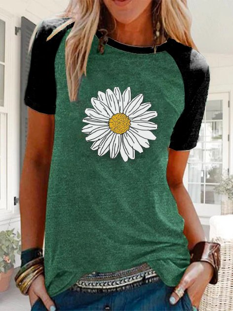 Green Round Neck Floral Short Sleeve Shirts & Tops