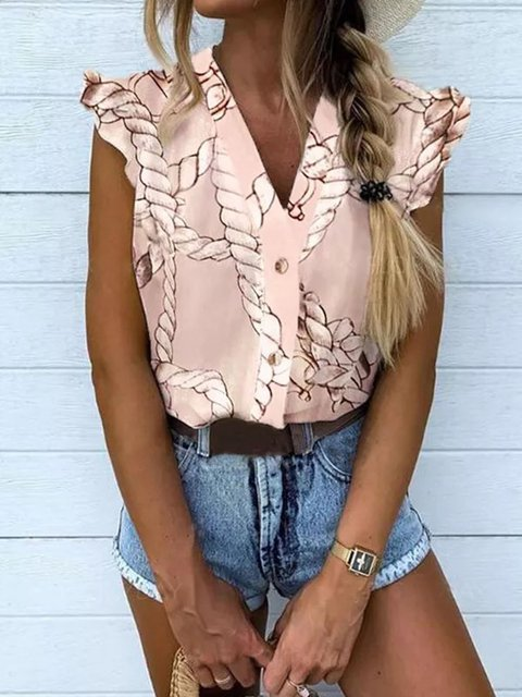 Pink Sleeveless V Neck Shirts & Tops