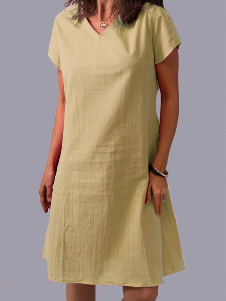 Solid Short Sleeve Shift Casual Dresses