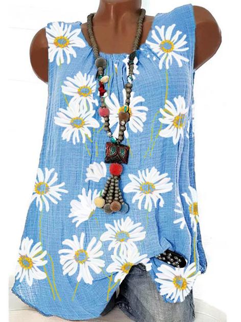 Blue Floral Sleeveless Shift Shirts & Tops