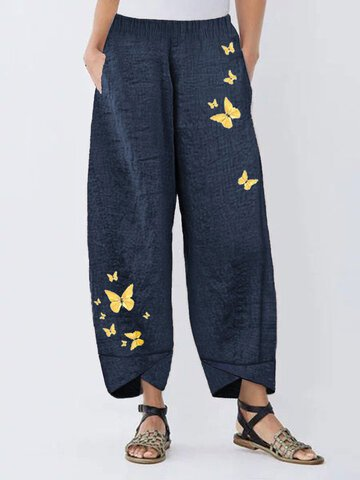 Casual Animal Cotton-Blend Pants
