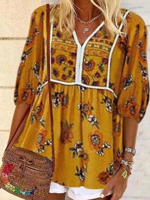 Yellow V Neck Floral-Print Half Sleeve Shirts & Tops