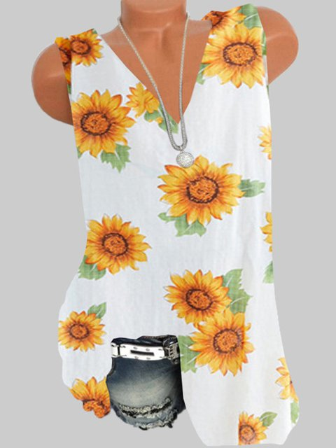 Yellow Floral V Neck Floral-Print Sleeveless Shirts & Tops
