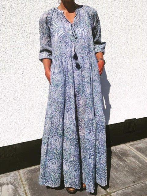 Tassel Ties V-neck 3/4 Sleeve Casual Print Cotton Maxi Dress